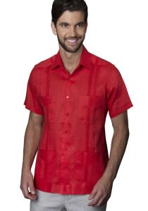 Mexican Traditional Guayabera. Short Sleeves. Premium 100% Linen. Haute Couture. Coral Color. Back Orders or Demand.
