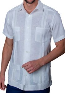 Mexican Traditional Guayabera. Short Sleeve. Premium 100% Linen. Haute Couture. White Color. Back Orders or Demand.