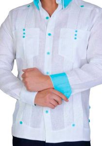 Two Pockets Guayabera. Slim Fit. Modern. Double Eyelet for use Cufflinks. White/Aqua Color. Back Orders or Demand.